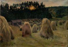 Helmi Biese - Summer evening sunset, oil on canvas, 70 x 100 cm Finland Helene Schjerfbeck, Chur, Evening Sunset, Summer Evening, Dusk, Oil On Canvas, Modern Art, Helmet, Fine Art