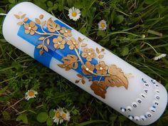 26 Taufkerze Kommunionkerze Junge Mädchen Blau NEU von Lenz  Kerzen auf DaWanda.com