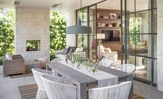 Steel framed doors, fireplace, stone -- LOVE!