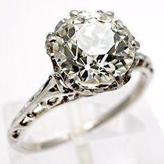 Antique Old European Cut Diamond Engagement Ring Solid Platinum Crown Setting