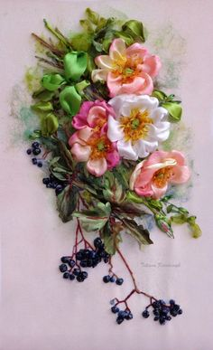 """Embroidered picture """"Rosehip"""", Silk ribbon embroidery, ribbonwork, ribbonembroideryart, for frame, embroidered roses di SilkRibbonembroidery su Etsy"""