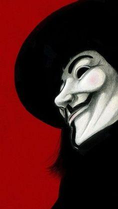 V for Vendetta red background - theiphonewalls.com