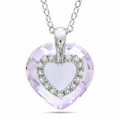 Sterling Silver 6 CT TGW Rose de France 0.06 CT TDW Diamond Heart Pendant (G-H, I3) Amour. $62.99. Save 50%!
