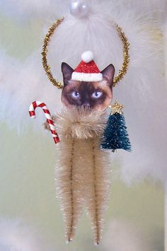 Siamese Cat Vintage Style Chenille Feather Tree Ornament. $10.95, via Etsy.