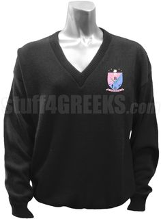 Black Sigma Beta Xi v-neck sweater with the crest on the left breast.