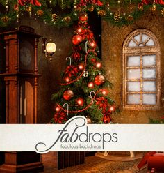 Christmas Tree Photography Backdrop  Photo Background *** 20% OFF YOUR FIRST ORDER *** http://www.fabbackdrops.com/photography-backdrop-coupons/