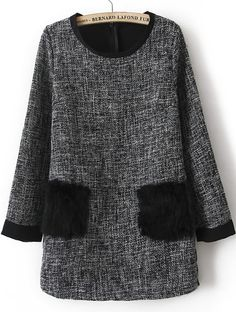 Black Long Sleeve Fur Pocket Embellished Dress