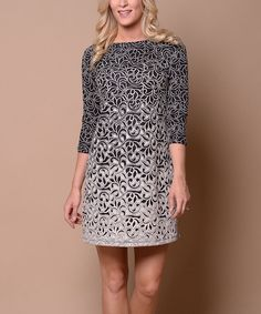 MADE IN USA .Gray & Black Filigree Shift Dress