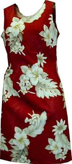cdd50ba4f4e Short Tank - Women s Plumeria Hibiscus Feather Fern Hawaiian Aloha Poplin  Cotton Dress in Red -