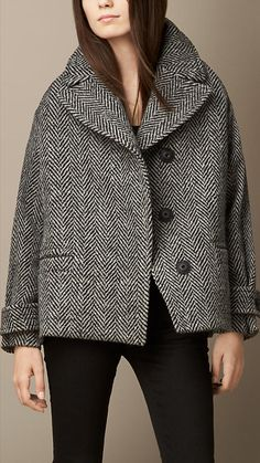 Oversize Herringbone Wool Pea Coat | Burberry