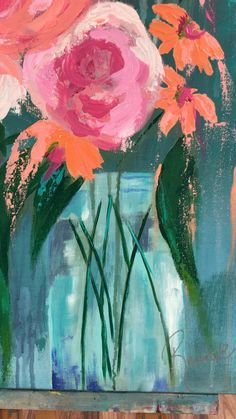 Basic Painting, Plant Painting, Oil Painting Flowers, Abstract Flowers, Watercolor Paintings, Diy Canvas Art, Flower Art, Colorful Abstract Art, Paisajes