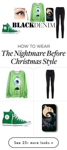 """Black and Green"" by zoematic on Polyvore featuring 7 For All Mankind, Converse, Luminess Air, women's clothing, women's fashion, women, female, woman, misses and juniors"
