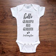 hello Grandma and Grandpa I'm Coming Soon - baby onesie bodysuit birth pregnancy reveal announcement grandparents grandma grandpa – Hello Handmade Goods I Love My Grandma, Grandma And Grandpa, Mom And Dad, Coming Soon Baby, Custom Baby Onesies, Miracle Baby, Pregnant Mom, And So The Adventure Begins, First Time Moms
