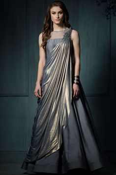 Buy Grey & Gold Lycra Applique Embroidered Saree Online Best Picture For Blouse dress For Your Taste You are looking for something, and it is going to tell you exactly what you are looking for, and yo Indian Designer Outfits, Designer Dresses, Stylish Dresses, Fashion Dresses, Long Gown Dress, Dress Skirt, Saree Gown, Party Kleidung, Indian Gowns Dresses