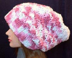 Slouchy Hat  Pink & White  Cotton  Handmade  by YaxumiKaroDesings