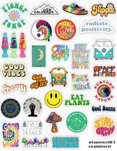 Hippie Sticker Pack Hippie sticker pack hippie stickers hippie positivity earth eat plants patterns tiedie make lov Stickers Cool, Tumblr Stickers, Phone Stickers, Printable Stickers, Retro Wallpaper, Iphone Wallpaper, Wallpaper Backgrounds, Nature Wallpaper, Vintage Sticker