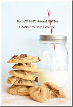 World's best peanut butter chocolate chip cookies