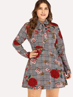Shop Plus Size Knot Front Floral Embroidery Dress online. SheIn offers Plus Size Knot Front Floral Embroidery Dress & more to fit your fashionable needs. Plus Size Dresses, Plus Size Outfits, Shift Clothing, Floral Embroidery Dress, Natural Clothing, Plus Size Kleidung, Frack, Collar Styles, Dress Outfits