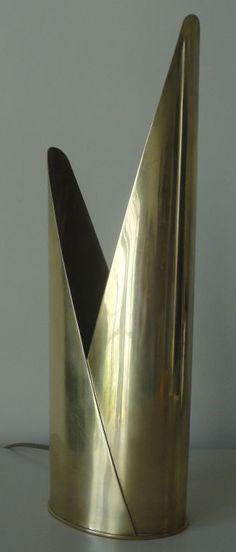 Mathieu Mategot; Brass 'Lampe Laiton' Table Lamp, 1960.