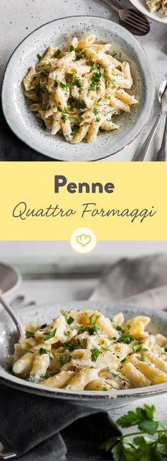 Einfach die vier Käsesorten zusammen mit Sahne und Milch schmelzen, Nudeln kochen und fertig sind deine Penne ai Quattro Formaggi.