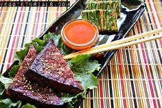 kalbi style baked tofu and pajeon - Veggietorials Vegan Korean Food, Vegan Vegetarian, Vegetarian Recipes, Vegan Food, Korean Recipes, Grilled Short Ribs, Scallion Pancakes, Raw Vegan Recipes, Healthy Recipes