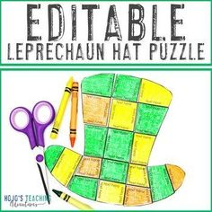 EDITABLE Leprechaun Hat Puzzle - Create a St Patricks Day Activity on ANY Topic! |  1st, 2nd, 3rd, 4th, 5th, 7th, 8th grade, Activities, English Language Arts, Fun Stuff, Games, Homeschool, Math, Middle School, St. Patrick's Day