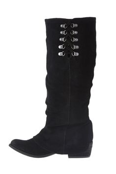 """Complete your cool-weather wardrobe with this cuffed-look boot. Features tiesat the shaft, overlay and a small stacked heel.    Approx. Measures: 4"""" heel, 14.50 bootshaft.   Winter Blues Boot by Naughty Monkey. Shoes - Boots - Black Shoes - Boots - Heeled Idaho"""