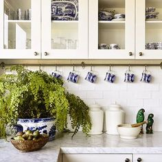 White kitchen with blue accessories, a classic look - Adelaide Bragg