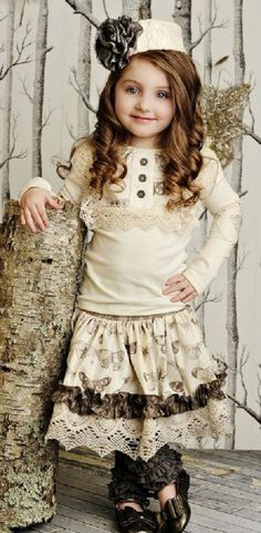 Persnickety Clothing Lou Lou Cream Top with Emily Butterfly Skirt $124.00