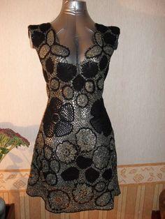 """Платье """"цветы в паутине"""" - авторская работа,вязаное платье,гипюрное кружево"""