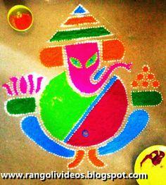 30 Rangoli Designs for all Occasions Ganesha Rangoli, Diwali Rangoli, Ganesha Painting, Rangoli Designs, Christmas Ornaments, Holiday Decor, Crafts, Image, Home Decor
