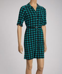 Take a look at this Black & Teal Bold Houndstooth Shirt Dress by Shelby & Palmer on #zulily today!