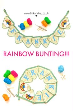 #rainbow #rainbowbunting #crochet bunting #banner #nursery Our crochet bunting can be done in various colours and designs. From bright rainbows to adorable flowers. They make an ideal decoration for your nursery or a unique gift for a new baby or Christening.