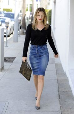 High-waisted Jean skirt. I actually think this is super cute! Love ...