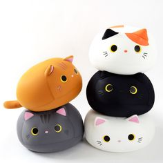 These adorable kitties are **big, soft, and stretchy beanbag plushies**, meaning they're extra fun to squish and squeeze!  Available in **white**, **cha** (brown), **mike** (calico), **gray** or **black**, each of these adorably round kitties have cute **3D ears**, and a **tail** too! They seem kind of lonely though with their upward gaze, won't you take one home to cuddle?   They're equally g...