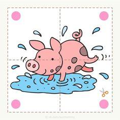 Cutting Activities, Creative Activities For Kids, Animal Activities, Preschool Learning Activities, Book Activities, Preschool Activities, Kids Learning, Farm Animals Preschool, Animal Puzzle