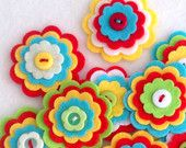 x 3 flor hecha a mano de fieltro capas RIO botón adornos broche verano brillantes colores tropicales