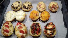 cartofi copti umpluti cu diferite umpluturi la cuptor Mozzarella, Ratatouille, Muffin, Breakfast, Food, Morning Coffee, Essen, Muffins, Meals