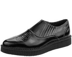 A8837 - BLACK WESTERN SLIP-ON POINTED TOE CREEPER | #TUKSHOES