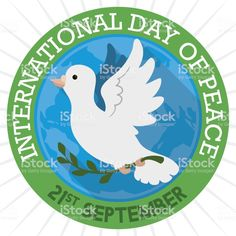 Button with White Dove and Globe for International Peace Day International Day Of Peace, Animal Body Parts, Round Button, Long Shadow, White Doves, Town Hall, Free Vector Art, Image Now, Globe