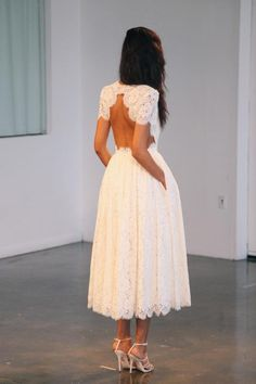 lace + midi + back cut-out. Such a pretty #wedding #dress. I love the open back and use of delicate lace.