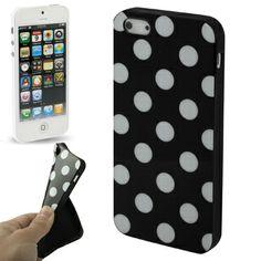 iPhone 5 soft case / hoesje, zwart met witte stippen (dots / black & white). Iphone 5 Cases, 5s Cases, Best Iphone, Shells, Dots, Pattern, Black, Shape, Stylish