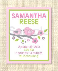 Pink Baby Bird Printable Nursery Wall Art Birth Stats