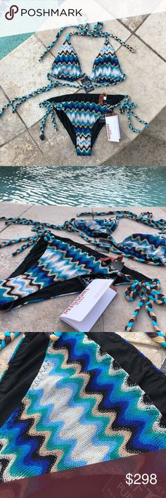 NWT Missoni blue bikini NWT Missoni blue knit zig zag bikini. Size 44 (Italy)  Fits US Size 4-12 Top: Self-tie fastening at back Halterneck, soft triangle cups, all-over zigzag pattern, elasticated band, fully lined Hand wash 54% viscose, 27% rayon, 19% polyester; lining 70% nylon, 30% elastane Bottom: Self-tie fastening at sides Mid-rise, elasticated waistband, all-over zigzag pattern, full coverage at back, fully lined, branded hardware Hand wash 54% viscose, 27% rayon, 19% polyester…