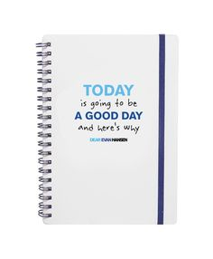 This Dear Evan Hansen spiral notebook measures 5 x7, has 80 lined recycled paper pages and a blue elastic band closure. The newest in the Dear Evan Hansen merchandise line.