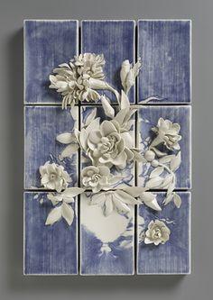 Giselle Hicks / Floral Still Life / Inlaid Slip, Glaze Ceramic Wall Art, Ceramic Clay, Ceramic Pottery, Ceramic Flowers, Clay Flowers, Sculptures Céramiques, Sculpture Art, Design Vitrail, Clay Tiles