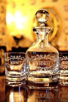 Crystal Whiskey Decanter Set with 2 Glasses