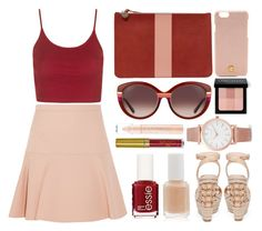 """red and nude bag"" by juliehalloran ❤ liked on Polyvore featuring Clare V., Topshop, Miu Miu, Jessica Simpson, Tory Burch, Salvatore Ferragamo, Larsson & Jennings, Essie, Bobbi Brown Cosmetics and LASplash"