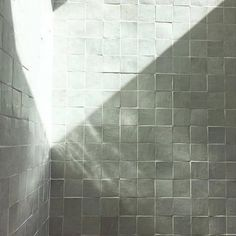 never a dull moment when sun meets our zellige. Bathroom Renovations, Home Remodeling, Herringbone Tile Floors, Tile Stairs, Bathroom Design Layout, Shower Tile Designs, Jack And Jill Bathroom, White Tiles, Small Bathroom