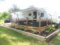 """Now that's a deck! Imagine, doing that in our yard so that it can be used as a """"guest site"""" for visitors! #rvyard"""